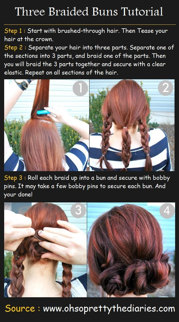3 Braided Buns Hairstyle | Beauty Tutorials