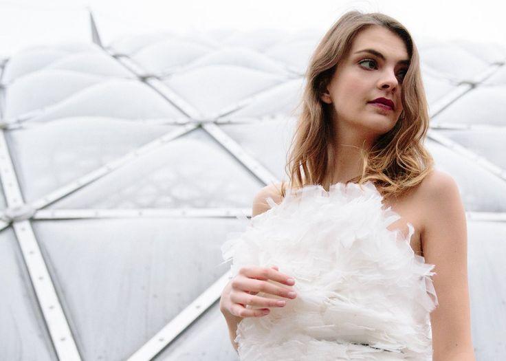 Dimitra | Feathered White Wedding Dress