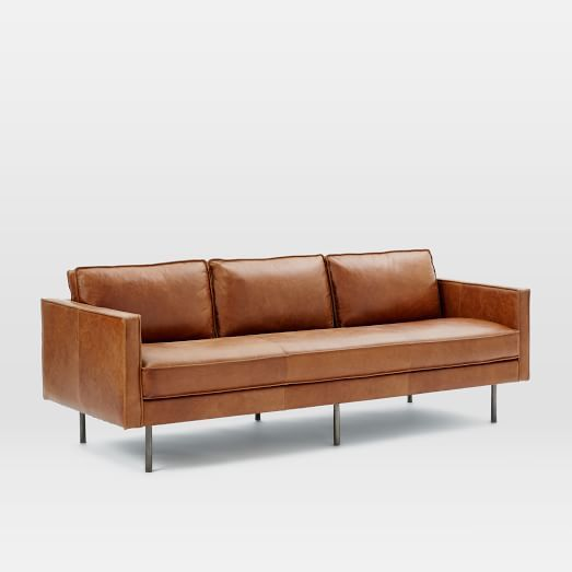 "Axel Leather Sofa Overall product dimensions: 89""w x 36""d x 34.5""h. $2124"