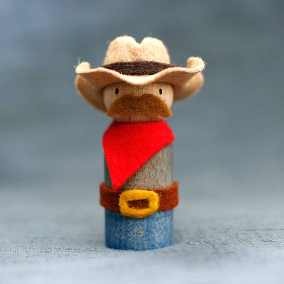 Cowboy Peg Doll with Mustache and Hat, Waldorf-Inspired