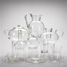 Artwork by Wilhelm Wagenfeld, Glass tea and water service, approximately 40 pieces, Made of Glass