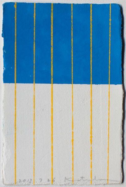 Yellow stripes on blue and white   Pattern by Japenes textile brand SOU · SOU   www.sousou.co.jp