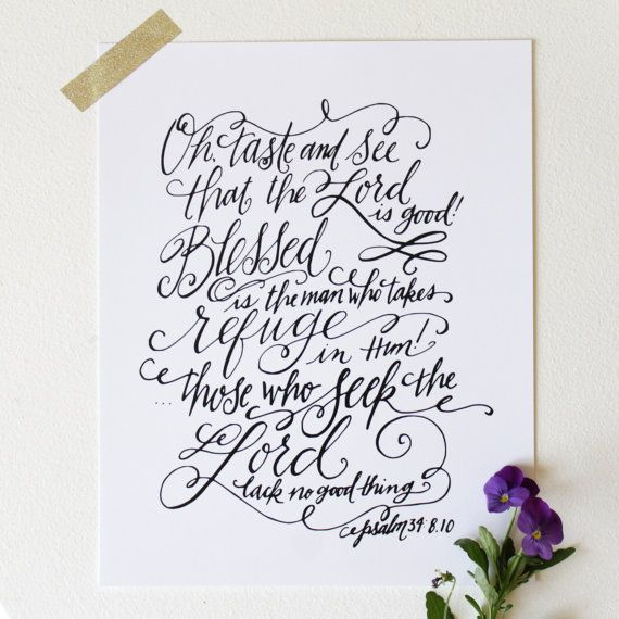 Oh Taste and See - 8x10 Hand Lettered Print by Mandy England
