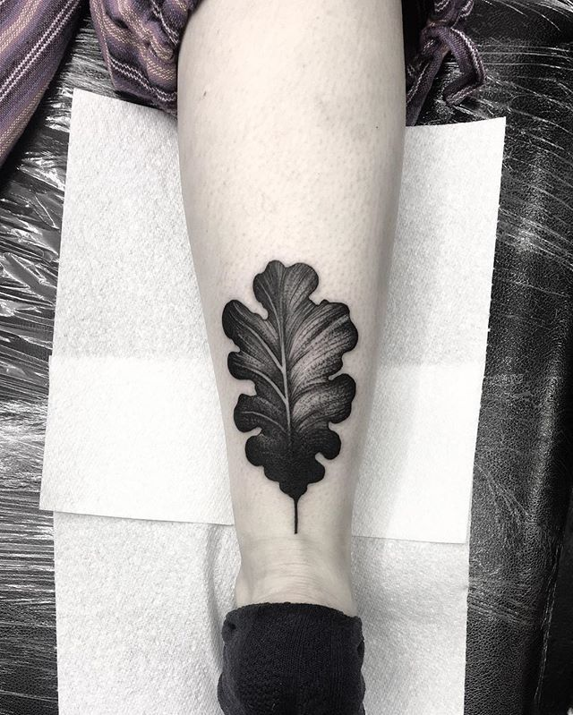 WEBSTA @ kellyviolence - A rare simple oak leaf above the achilles heel for babe Stella.