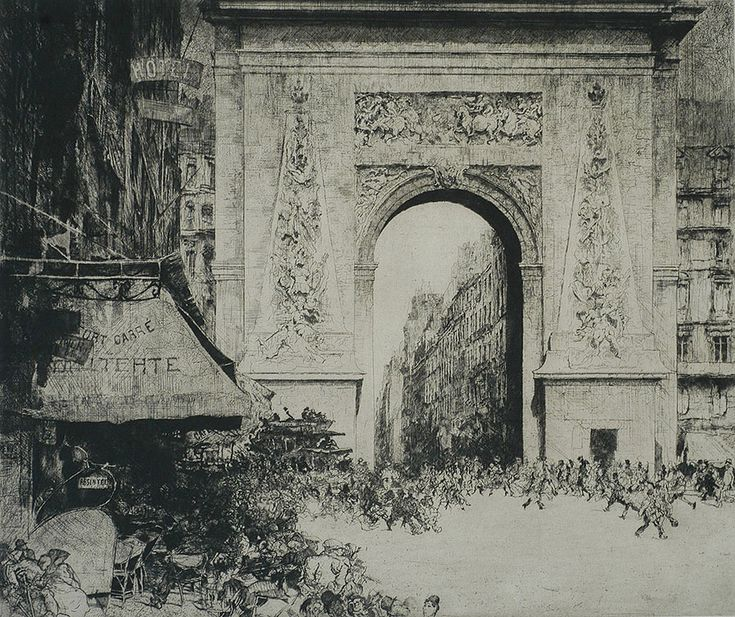 La Porte Saint Denis, Paris -JULES DE BRUYCKERBelgian, (1870-1945)Etching, 1928, LeRoy 154, edition 125. 24 x 20 in. Signed and numbered in pencil, lower right. Titled in pencil, lower left. The Porte Saint Denis is a triumphal arch designed by the architect Francois Blondel and the sculptor Michel Anguier for Louis XIV. It was built in 1672. An impression of this majestic work is in the Minneapolis Institute of Art.