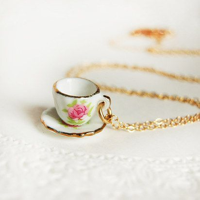 Teacup and saucer necklace