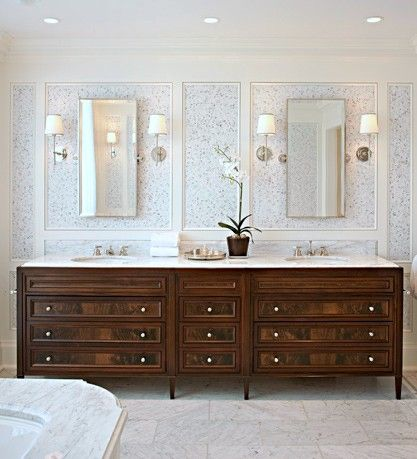 beautiful wood vanity with white and pale grey