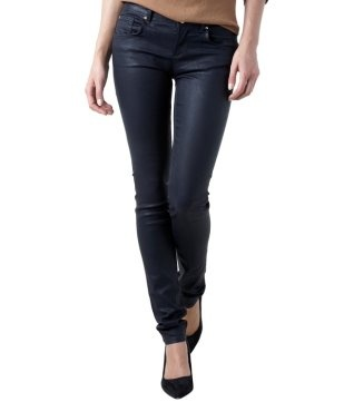 Coated canvas slim jeans navy blue - Promod