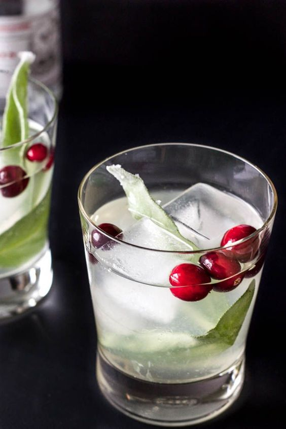 Simple holiday cocktail made with white cranberry juice, gin, and candied sage.   saltedplains.com