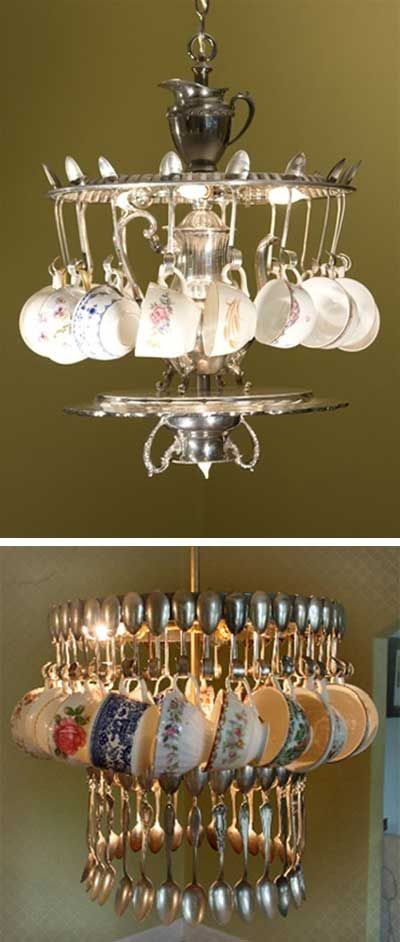 Chandelier from vintage tea cups, spoons, silverware, repurposed teacups; Upcycle, Recycle, Salvage, diy, thrift, flea, repurpose!  For vintage ideas and goods shop at Estate ReSale  ReDesign, Bonita Springs, FL