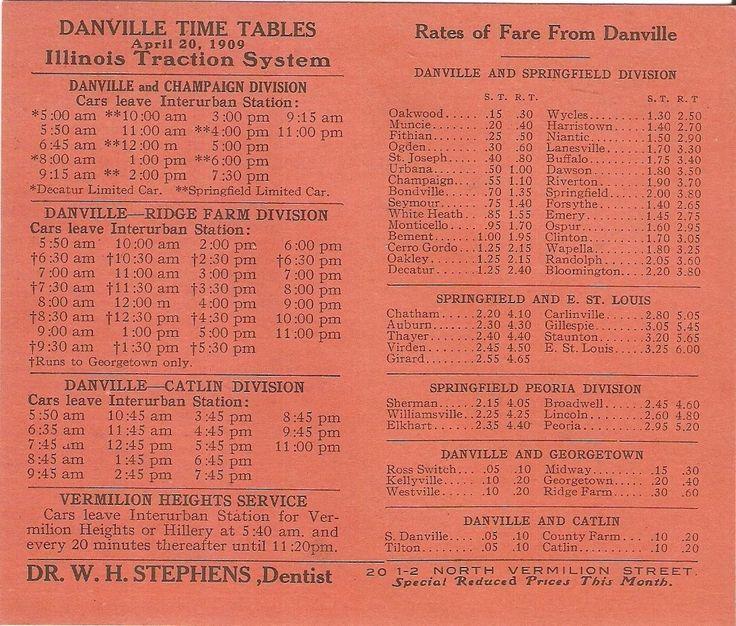 Danville, IL - Illinois Traction System Interurban Railway Schedule - 4.20.1909.