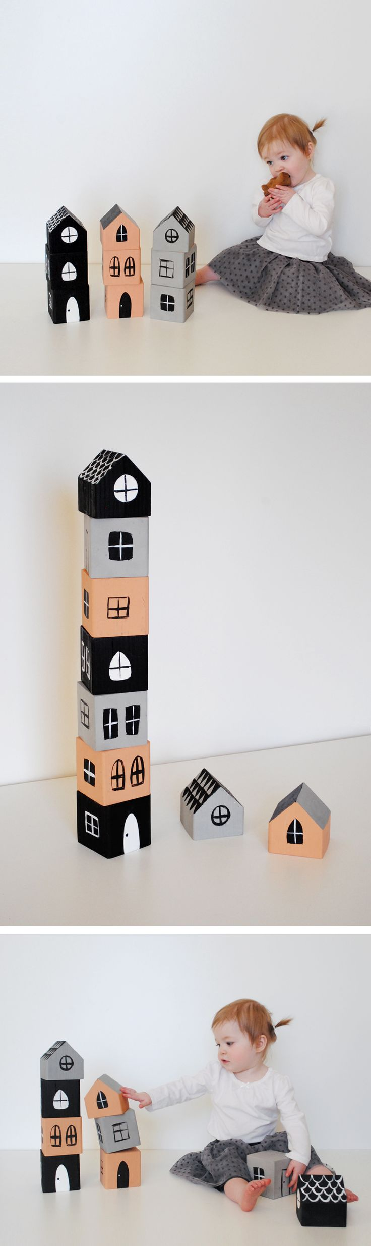 Mer Mag | Stacking House Blocks (psst gonna have to make some of these from the #recycle box..im thinkin #cardboard ;)
