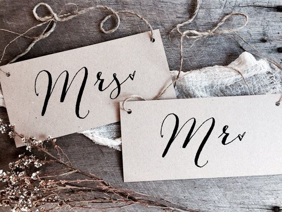 Mr Mrs Signs Wedding Signs Kraft Wedding Signs by LaPommeEtLaPipe