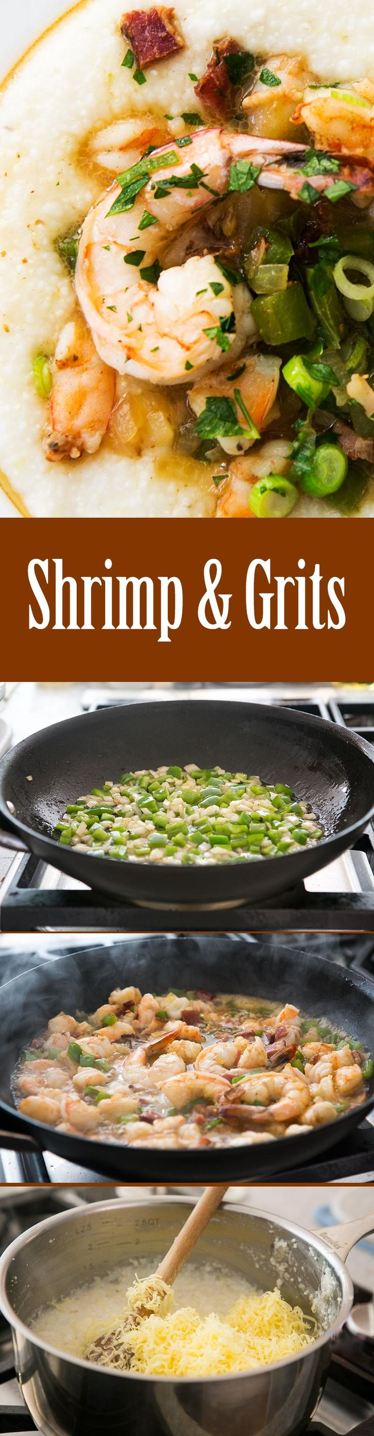 Southern style shrimp and grits! EASY to make at home, grits topped with shrimp, onions, peppers and bacon. The Ultimate Southern breakfast. On SimplyRecipes.com