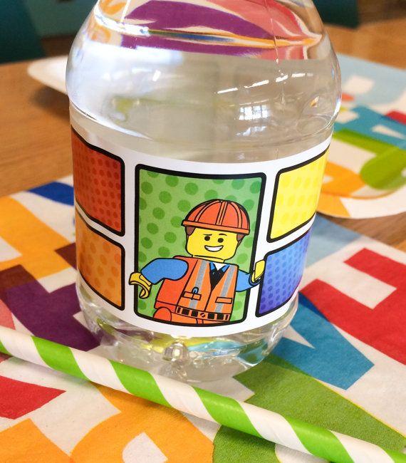 Lego Movie Emmet Collection. Water Bottle Label. DiGiTAL DOWNLOAD. DiY Printable Design. Pinkadot Shop