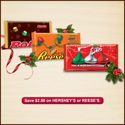 Check out this great offer to save 2.50 on HERSHEY'S or REESE'S.