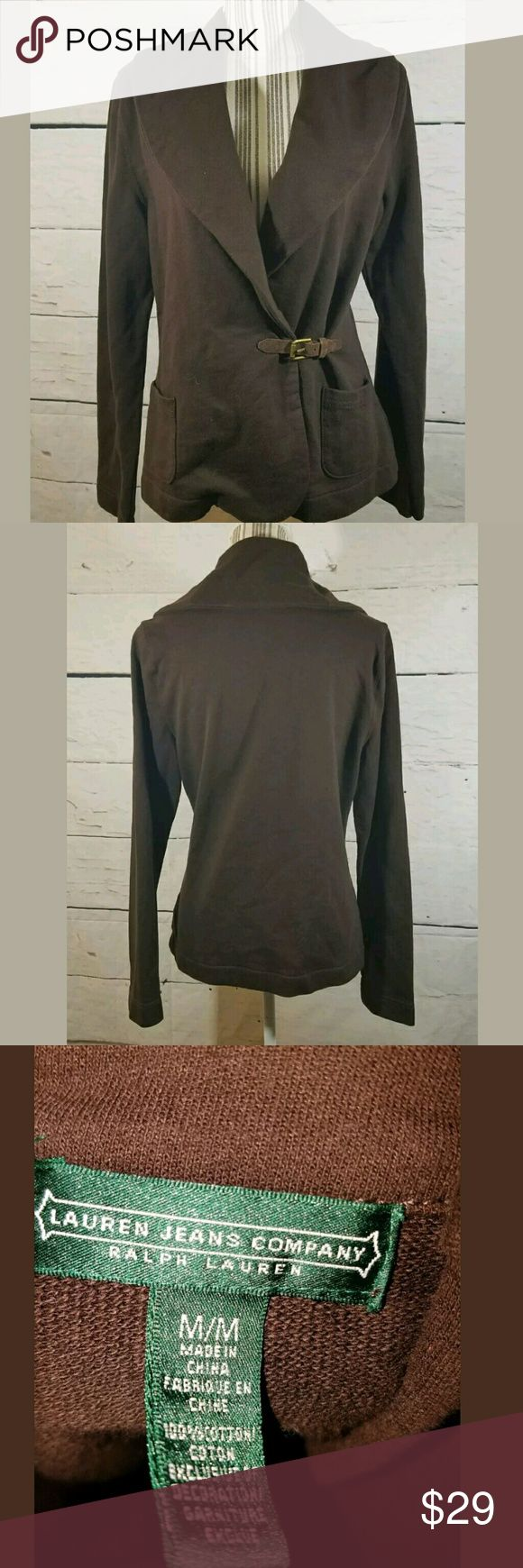 Ralph Lauren Jeans Co. Cotton Wrap Jacket Brown Ralph Lauren Jeans Co. Cotton Wrap Jacket Brown Medium  Excellent used condition.   20 inches pit to pit.  26 inches long.    LB Ralph Lauren Tops Sweatshirts & Hoodies