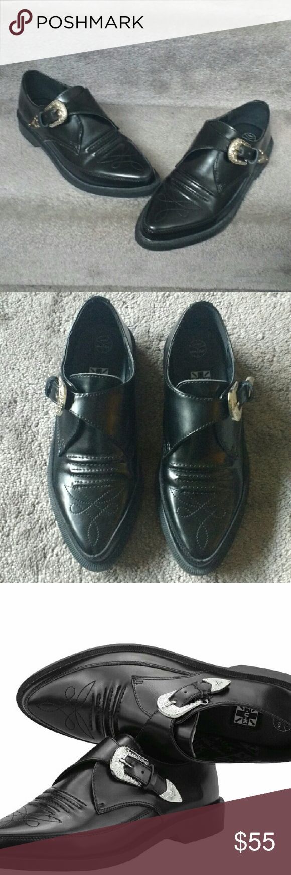 TUK Black Western Jam shoe! Black AMAZING dreamy creepers by T.U.K.  Kind of a traditional flat pointed creeper with a Western style silver buckle on the side. NWOT! Only tried on at home. T.U.K. Shoes