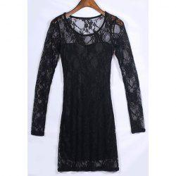 $6.62 Slim Fit Scoop Neck Long Sleeve Black Lace Dress For Women