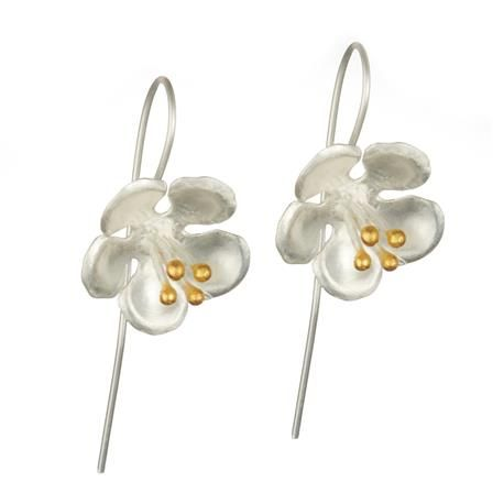 ACHICA | Banyan Full Bloom Longer Hook Earrings with Gold Plate, Sterling Silver