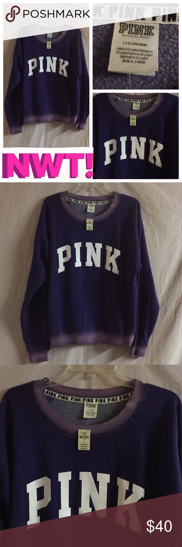 "NWT! PINK DISTRESSED CAMPUS CREW NWT PINK DISTRESSED PURPLE & WHITE OVERSIZED CAMPUS CREW PULLOVER. FEATURES: 📌SUPER SOFT FLEECE-78% COTTON & 22% POLY 📌LONGER TUNIC LENGTH-26"", PERFECT TO WEAR WITH LEGGINGS! 📌RELAXED, OVERSIZED FIT 📌HAS AN ALMOST TYE DIE LOOKING AREA AROUND THE NECKLINE, CUFFED WRISTS, & BOTTOM HEM-SEE PICS #3-#5. PINK Victoria's Secret Tops Sweatshirts & Hoodies"