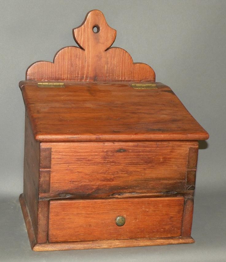 Pine salt box 574 best Antique WOODEN