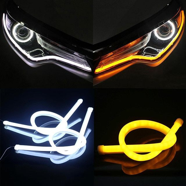2 Pcs 30cm 45cm 60cm Vehicle Drl Flexible Tube Strip Led Car Daytime Running Lights Turn Signal Angel Eyes Car Styling Review Running Lights Car Lights Car