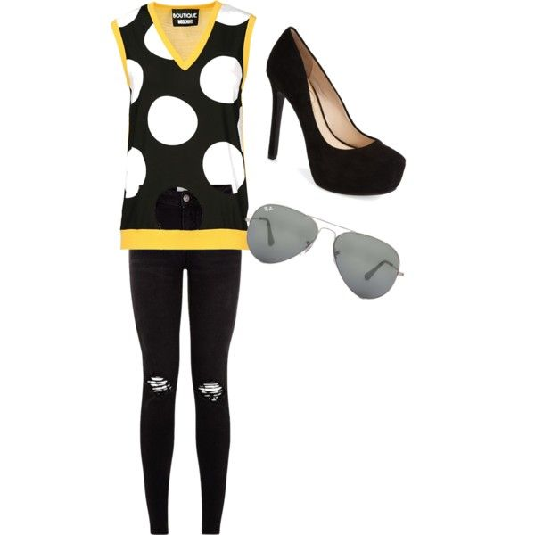 Untitled #78 by feffymoya-1 on Polyvore featuring polyvore fashion style Boutique Moschino Jessica Simpson Ray-Ban