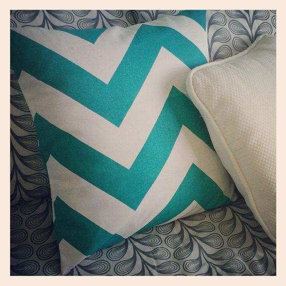 Large Turquoise Chevron Decorative Pillow Cover 18x18 inches via Etsy
