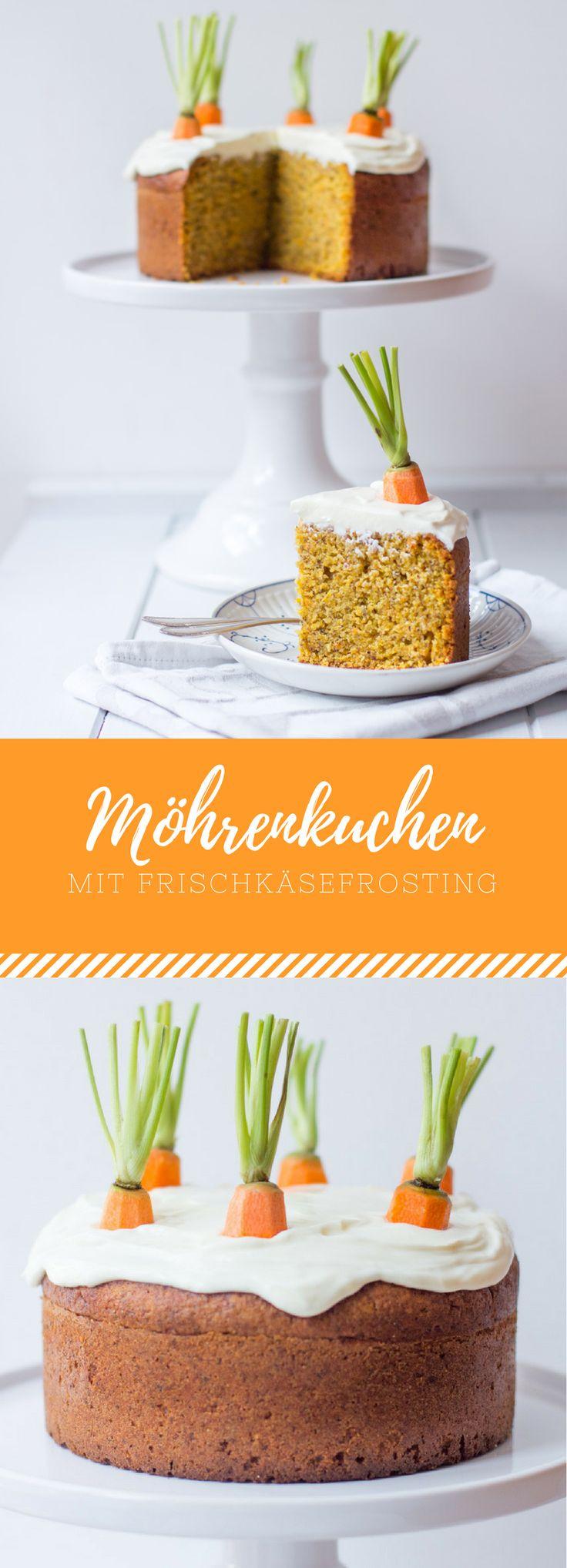 Karottenkuchen/ Möhrenkuchen/ Rüblikuchen mit Frischkäsefrosting. Perfekt für Ostern oder den Frühling