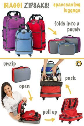 """Biaggi's Zipsak 22"""" Microfold Carry-On amazingly transforms from an easy to store small pouch into a full sized spinner carry-on. When folded, the Zipsak can be stored in a drawer, on a shelf, or under a bed, so your luggage won't use up valuable space in your home."""