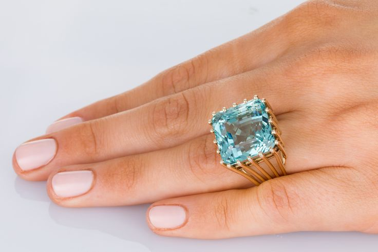 The Sea of Love Aquamarine cocktail ring. A magnificent 21ct Aqua that has a colour to die for. Get in quick this ring won't last long. Available on www.1stdibs.com - The Jewellery Trading Company