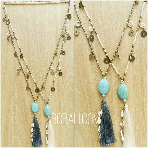 two color beads stone necklaces tassels handmade - two color beads stone necklaces tassels handmade