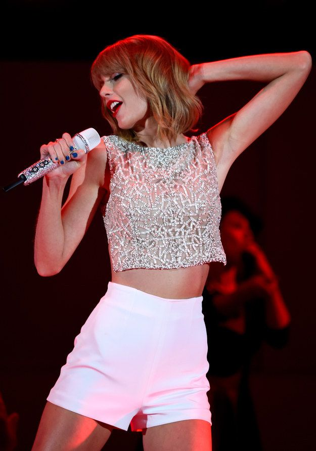 This cute sparkling number. | The Definitive Ranking Of Taylor Swift's Short Shorts