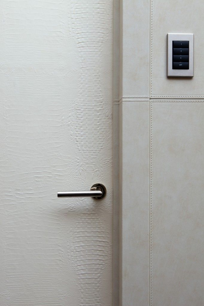 white leather door, chrome handle lever