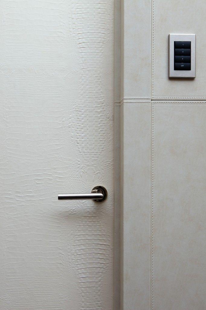 white leather door, chrome handle lever