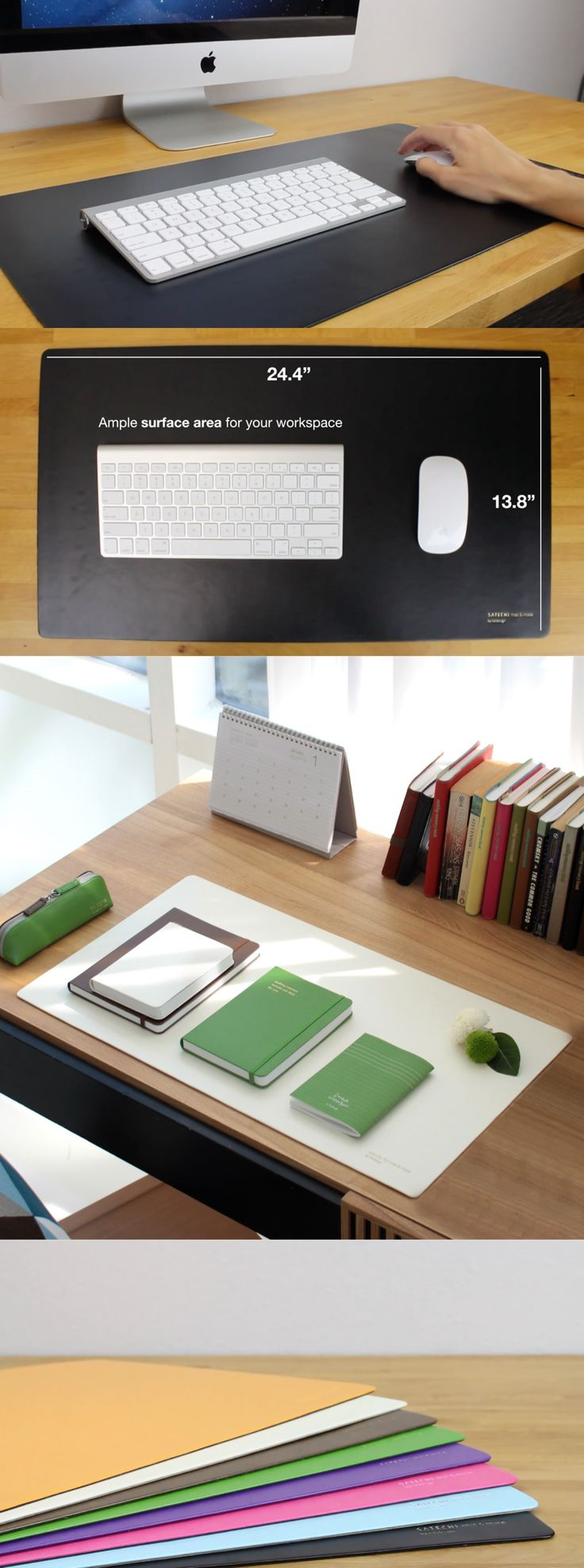Satechi Desk Mat & Mate (Cream White). The Satechi Desk Mat & Mate desk pad covers a wide area of your desk to protect your work surface from scratches, spills, and every day wear. Perfect for use as a reading and writing surface or as a mouse pad, the Desk Mat & Mate is easy to clean and is large enough to fit a keyboard and mouse.