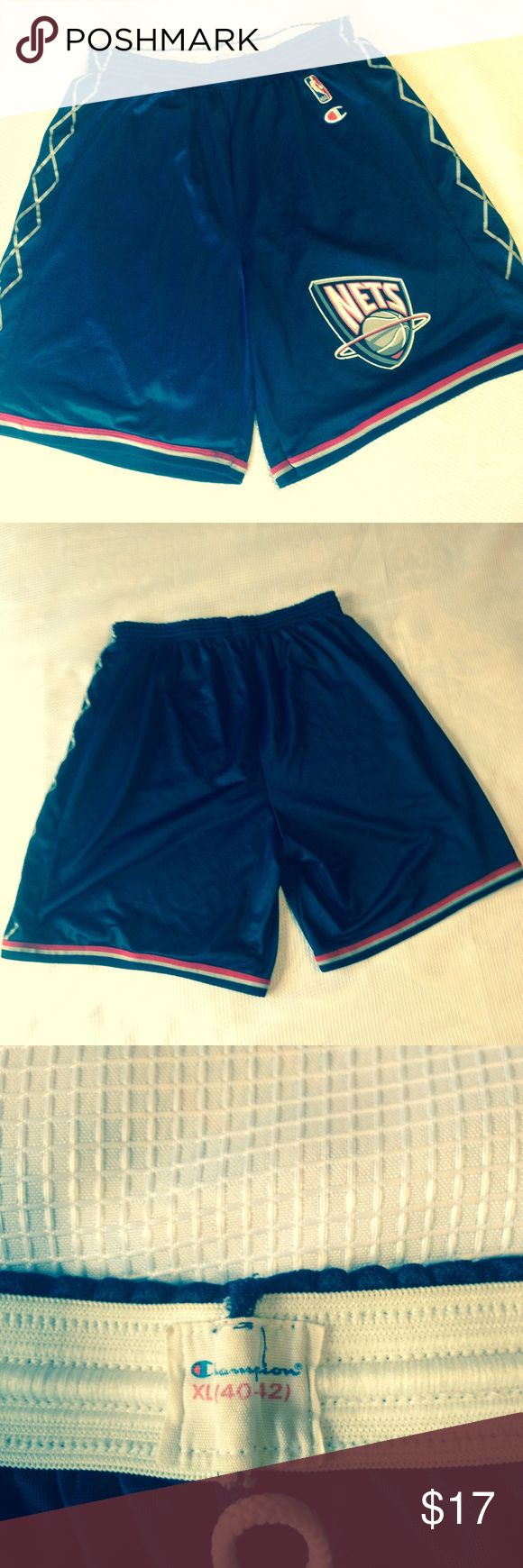 NBA Champions Nets Basketball Shorts... Dark Blue with NBA emblem basketball shorts in excellent condition.... Champion Shorts Athletic