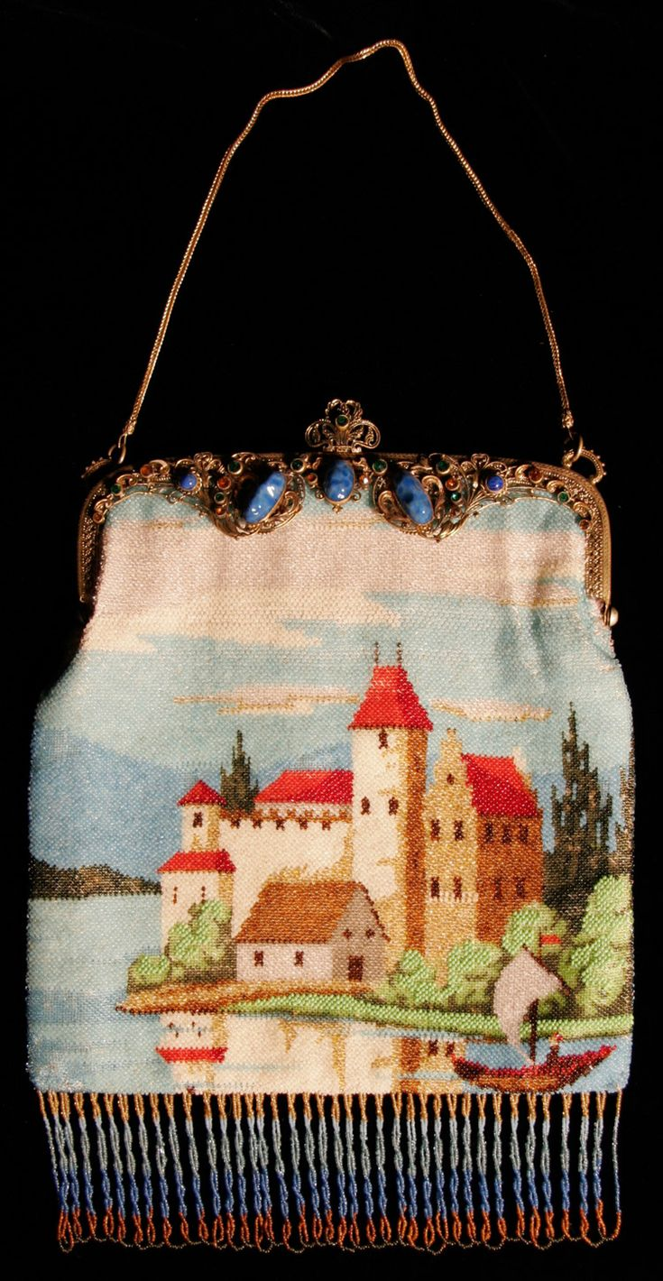 scenic micro beaded purse with jeweled frame, pretty castle scene which is very common with the micro beaded purses.
