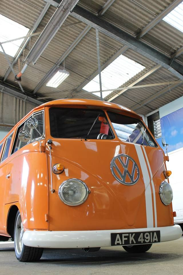 Orange Bus with racing stripe ♠ re-pinned by http://www.wfpblogs.com/category/toms-blog/