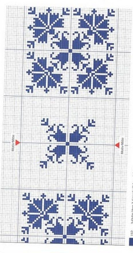 Punto De Cruz Para Manteles | Punto de Cruz: Cenefas para manteles en Azul.