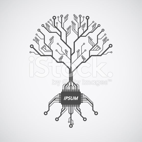 printed circuit board tree royalty-free stock vector art