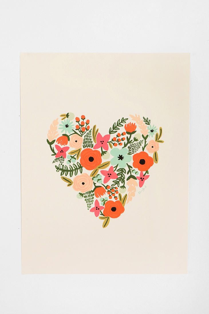 Rifle Paper Co. Floral Heart PrintHeart Prints, Ideas, Rifle Paper, Inspiration, Floral Heart, Illustration, Rifle Paper Co, Design, Flower