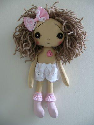"Handmade Shabby Chic Vintage Retro Collectible Art Artist 9"" Cloth Rag Doll | eBay"