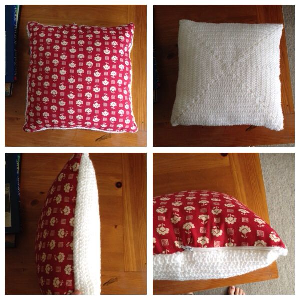 Crochet and material pillow with zip. All hand stitched.