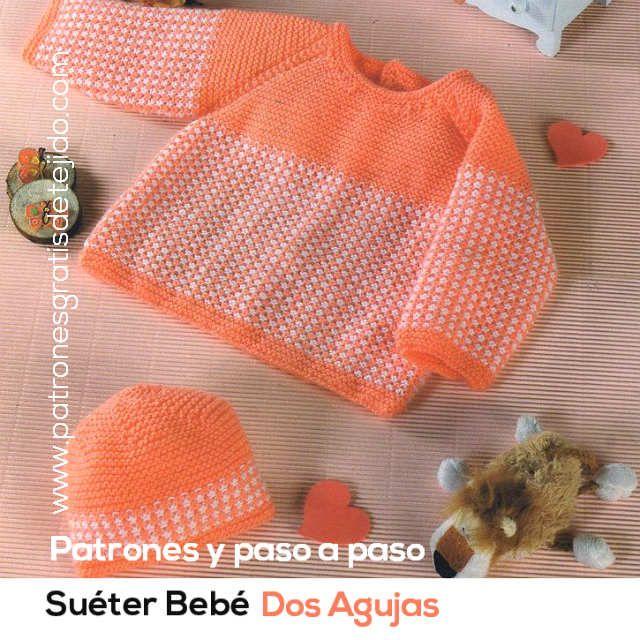 Crochet y Dos agujas: Suéter y Gorro Bebé tejidos con Dos Agujas / Molde...