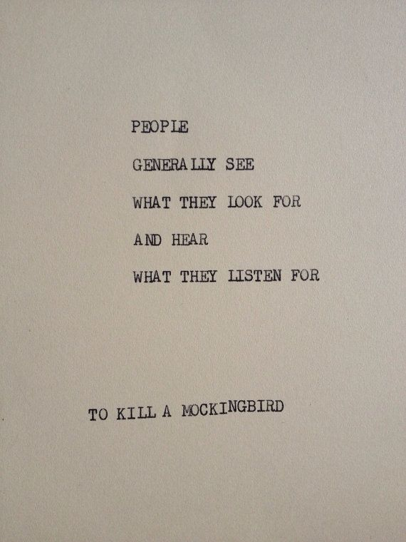 TO KILL A MOCKINGBIRD: Typewriter quote on 5x7 cardstock on Etsy, $5.00