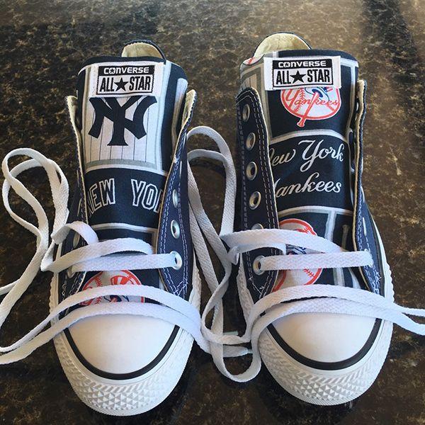 New York Yankees Converse Sneakers - http://cutesportsfan.com/new-york-yankees-designed-sneakers/