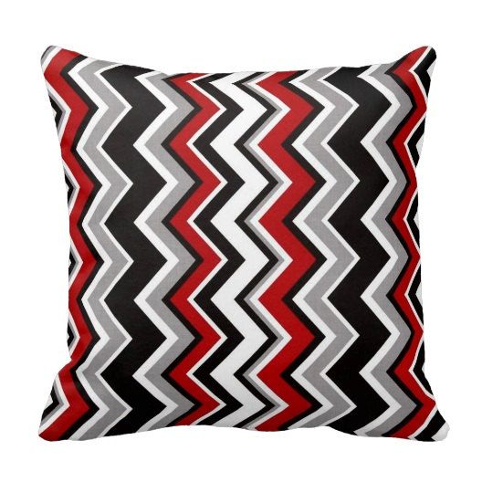 bogo red white black gray chevron zig zag pattern rouge 14x14 16x16 18x18