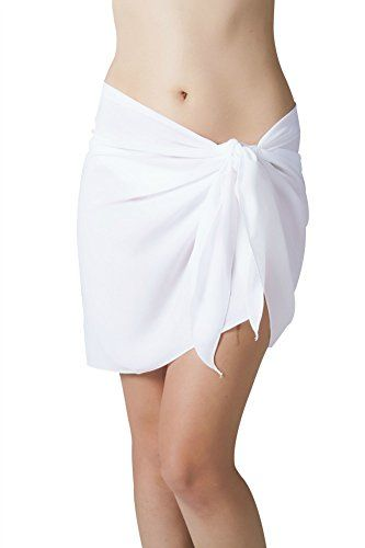 Short White Swimsuit Sarong Cover Up with Easy Built in Ties One Size. White sheer sarong - can see thru to swimsuit. Built in Ties. Measures 21 inches long x 48 inches wide. Fits missy size 2 to 12. Machine washable poly georgette, Made in USA.